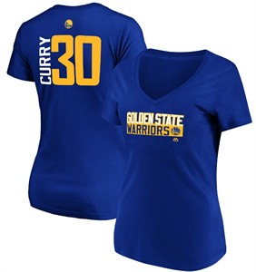 Ladies Stephen Curry Golden State Warriors Blue Vertical V Neck T Shirt
