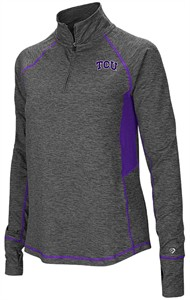Ladies TCU Horned Frogs Grey Junior Size Sabre 1/4 Zip Synthetic Pullover Wind Shirt
