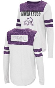 Ladies TCU Horned Frogs Junior Sized Long Sleeve My Way 2 Sided T Shirt