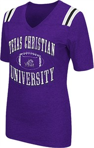 Ladies TCU Horned Frogs Purple Artistic Short Sleeve T Shirt