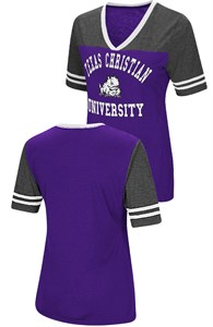Ladies TCU Horned Frogs Smaller Fit Whole Package Synthetic V Neck T Shirt