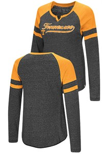 Ladies Tennessee Volunteers Heather Black Bubbilicious Long Sleeve T Shirt