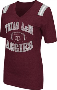 Ladies Texas A&M Aggies Maroon Artistic Short Sleeve T Shirt