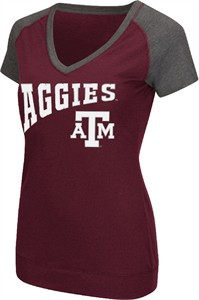 Ladies Texas A&M Aggies Goalline Synthetic V Neck Short Sleeve T Shirt