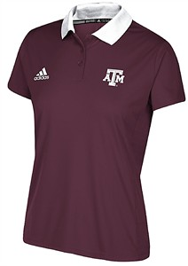 Ladies Texas A&M Aggies Maroon Adidas 2017 Coaches Sideline Synthetic Polo Shirt