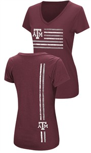 Ladies Texas A&M Aggies Synthetic V Neck T Shirt,  Power Play, Maroon
