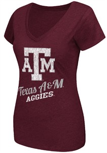Ladies Texas Aggies Maroon Tabloid V-Neck Tee Shirt by Colosseum