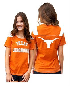 Ladies Texas Longhorns 2 Sided Jersey Style T Shirt by 289c