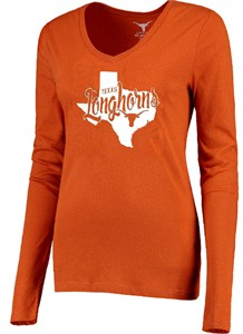 Ladies Texas Longhorns Emilie V-Neck Long Sleeve T Shirt on Sale