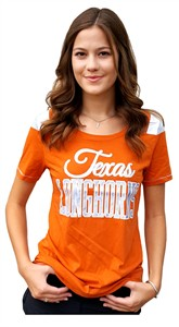 Ladies Texas Longhorns Orange Flapper Glitter Crewneck T Shirt by 289c on Sale