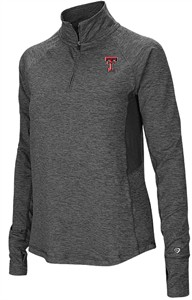 Ladies Texas Tech Red Raiders Grey Junior Size Sabre 1/4 Zip Synthetic Pullover Wind Shirt