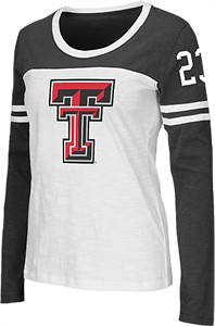 Ladies Texas Tech Red Raiders Scoop Neck Long Sleeve Hornet T Shirt by Colosseum
