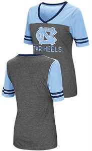 Ladies UNC Tarheels Junior Sized MC Twist V Neck T Shirt