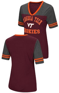 Ladies Virginia Tech Hokies Smaller Fit Whole Package Synthetic V Neck T Shirt
