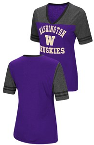 Ladies Washington Huskies Smaller Fit Whole Package Synthetic V Neck T Shirt