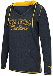 Ladies West Virginia Mountaineers Blue Smaller Sized Scream It V Neck Hoodie Top