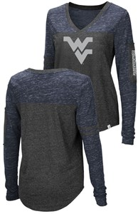 Ladies West Virginia Mountaineers Charcoal Stance V Neck Long Sleeve T Shirt