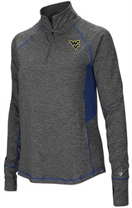 Ladies West Virginia Mountaineers Grey Junior Size Sabre 1/4 Zip Synthetic Pullover Wind Shirt