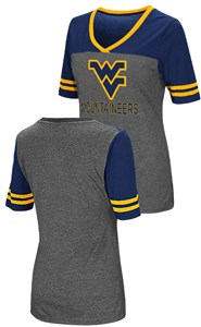 Ladies West Virginia Mountaineers Junior Sized MC Twist V Neck T Shirt