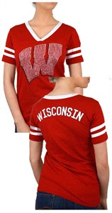 5d865dcc Ladies Wisconsin Badgers Red 2 Sided Rhinestone Short Sleeve T Shirt