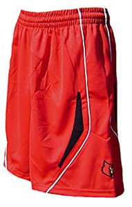 Louisville Cardinals Youth College Red Screen Printed Replica Basketball Shorts By Adidas
