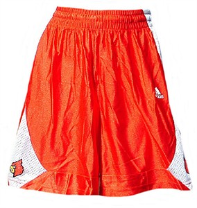 Louisville Cardinals Youth 7 Red College Screen Printed Replica Basketball Shorts By Adidas