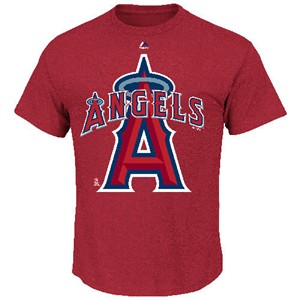 Los Angeles Angels Men's Heather Red Run Producer T Shirt by Majestic