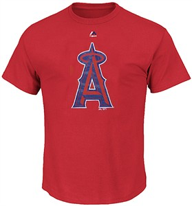 Los Angeles Angels Red Skills Test Synthetic Performance T Shirt by Majestic