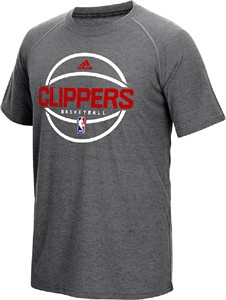 Los Angeles Clippers Adidas Slim Fit On-Court Dark Grey Pre-Game Ultimate Synthetic Short Sleeve T Shirt on Sale