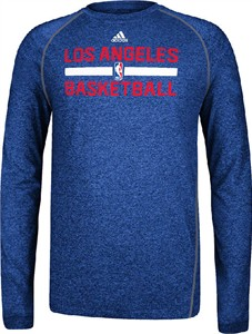 Los Angeles Clippers Heather Royal Climalite Practice Long Sleeve Shirt by Adidas