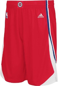 Los Angeles Clippers Red Embroidered Swingman Shorts By Adidas