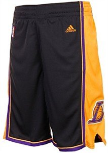 Los Angeles Lakers Black Embroidered Swingman Shorts By Adidas on Sale