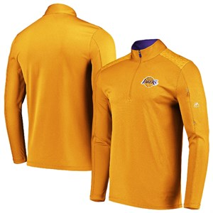 Los Angeles Lakers Gold  Half Zip Reflective Logo Mock Neck Wind Shirt on Closeout