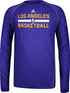 Los Angeles Lakers Heather Purple Climalite Practice Long Sleeve