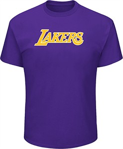 Los Angeles Lakers Mens Purple Mascot Name Short Sleeve T Shirt on Sale