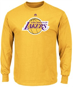 Los Angeles Lakers Mens Gold Majestic Logo 2 Long Sleeve T Shirt