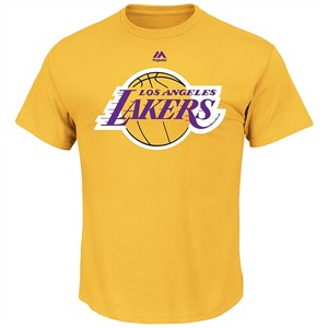 Los Angeles Lakers Mens Gold Majestic Logo 2 Short Sleeve T Shirt on Closeout
