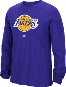 Los Angeles Lakers Purple Primary Logo Long Sleeve Tee Shirt by Adidas  7c820c221