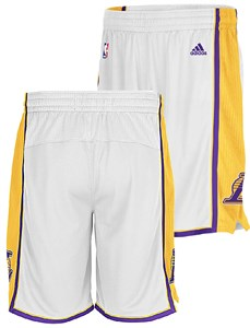 f279aa41a25 Los Angeles Lakers White Embroidered Swingman Shorts By Adidas | Los  Angeles Lakers