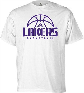 Los Angeles Lakers White Fundamental Short Sleeve Tee by Adidas ... 326bbe5b6