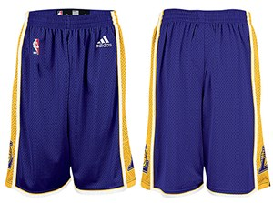 Los Angeles Lakers Purple Embroidered Swingman Shorts By Adidas on Closeout