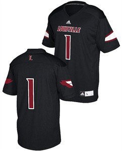 1a339ff8fee1 Louisville Cardinals 1 Black Adidas Replica Polyester Football Jersey