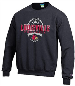 Louisville Cardinals Black Football Powerblend Screened Crew Sweatshirt by Champion