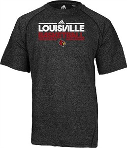 Louisville Cardinals Heather Black Dribbler SS Climalite Basketball Practice Shirt by Adidas