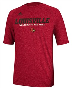 Louisville Cardinals Heather Red Climalite Slogan Sidelines Top by Adidas
