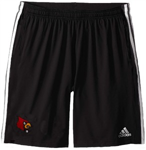 Louisville Cardinals Mens Black Adidas Climalite 3 Stripe Practice Shorts