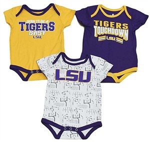 LSU Tigers Infant Playmaker 3 Pack Onesie Bodysuit Set