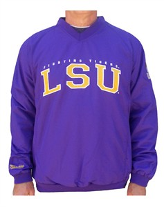 LSU Tigers Mens Coaches Embroidered V-Neck Pullover Wind Jacket