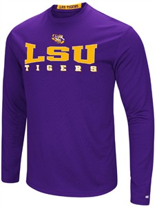 LSU Tigers Mens Purple Synthetic Streamer Long Sleeve T Shirt