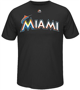 majestic Miami Marlins Black Official Wordmark Cool Base Synthetic Shirt